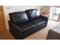 Sofa Bed - Faux Leather - 2 seater black