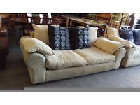 Cream corduroy twin 2 seater sofa set