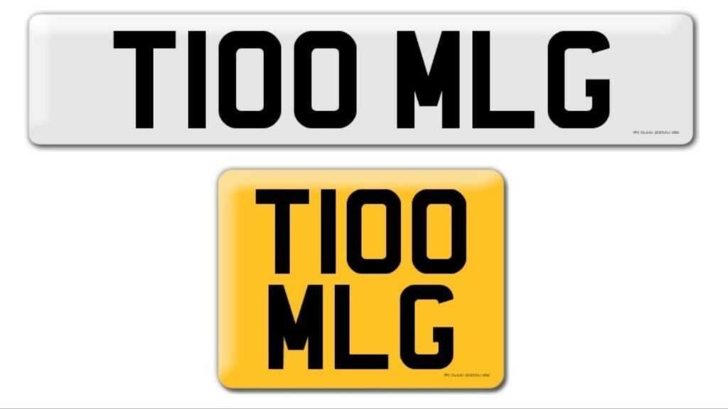 T100 MLG private cherished personal personalised registration plate number