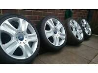 """Ford 18"""" Ronal alloy wheels great tyres Focus, Mondeo, C-Max, Transit Connect 5x108"""