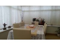 6 Cream leather dining chairs, dining table and side table!