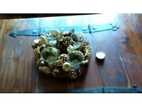 4 candle tea light holder in rose gold pine cones