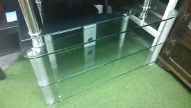 Large glass TV display unit thick glass quality