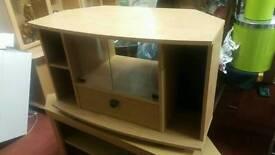 Tv Cabinet - Solid 2 Door, 2 Inner Shelf and 2 Side Shelf Wooden Tv Cabinet