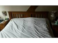 King size oak bed with almost new mattress