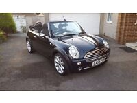 MINI COOPER CONVERTIBLE 1.6 2007 BLACK VERY HIGH SPEC LOW MILEAGE RARE COLOUR