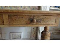 Rustic oak table side board with drawers desk