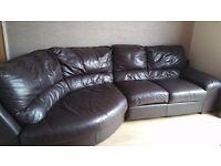 LEATHER Corner Sofa- Dark brown