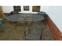 Outdoor furniture table and chairs (x6) set