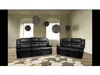 BRAND NEW Leather Recliner Sofa Set Venice Black