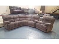 Cupola grey cord fabric manual recliner corner sofa and electric recliner armchair