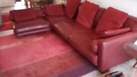 Beautiful red leather corner sofa 100%leather from DFS 3 years old