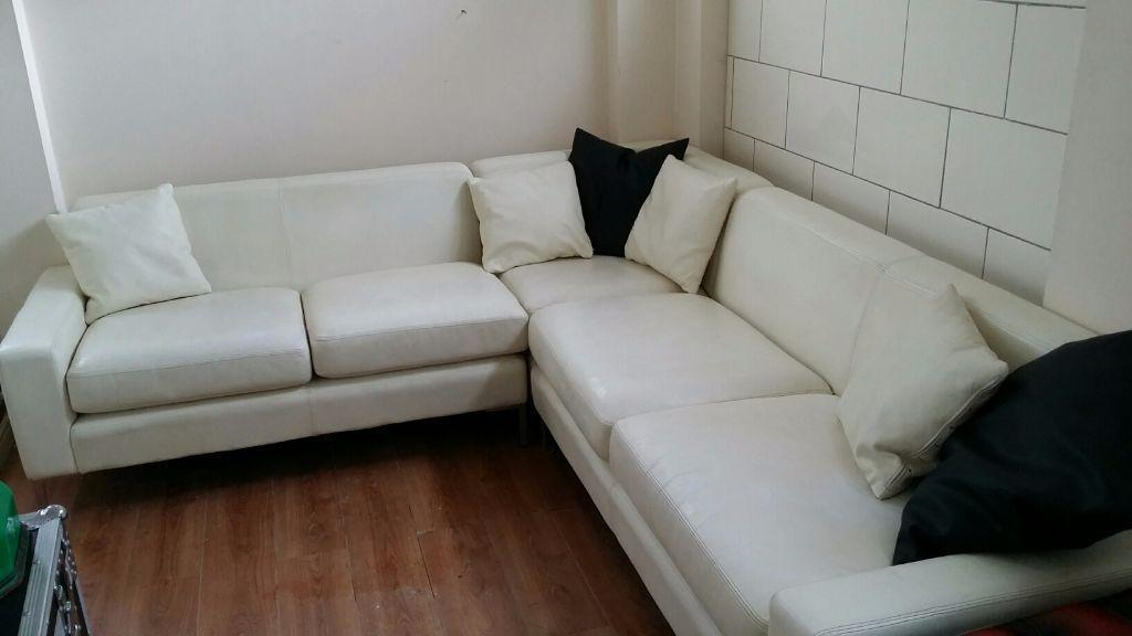 White Leather Corner Sofa Hand Made By Orior Of Ireland In Kearsley