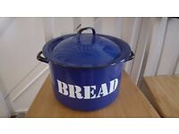 Metal Bread Bin - Blue Enameled