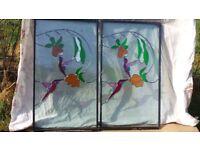 Pair of Hummingbird Stained Glass Windows