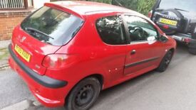 Peugeot 206 damaged driver door due to accident for quick sale - Duffield