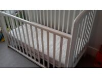 Dropside Cot (John Lewis Anna) with mattress and mattress protector