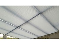 Sanderson conservatory ceiling blinds, thermal backed, Ocean Spray (light blue) in good condition.