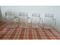 4x jam jar glasses