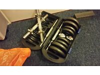 Iron dumbbells in box + 2 more euro chunky 30mm bars