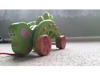 ELC Wooden Click Clack dinosaur pull along toy