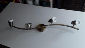 Antique brass 4 spotlight light fitting