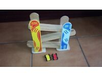 wooden car race slide