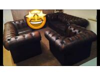 Chesterfield 3Piece Genuine Leather Suite / Settee (LIKE NEW!🔥⏳🔥! FREE LOCAL DELIVERY!🔥🔥