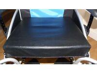 """18"""" wheelchair seat cushion, 3"""" deep foam cushion with black vinyl cover"""