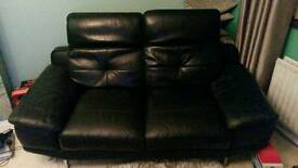 Black leather 3 and 2 seater sofa,s mint condition