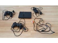 PS2 Slim with 2 controllers & all cables