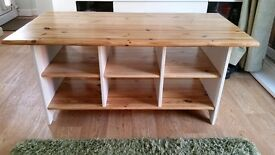 Solid pine unit / table with storage box shelves underneath