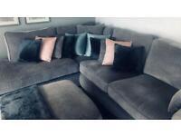 Grey Corner Sofa & Footstool For Sale