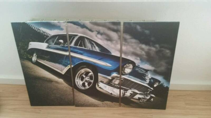 3 teilige leinwand chevy belair in sachsen mei en ebay kleinanzeigen. Black Bedroom Furniture Sets. Home Design Ideas