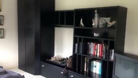 Hulsta black furniture wardrobe, tv unit, bookcase