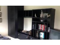 Hulsta black furniture wardrobe, tv unit, bookcase