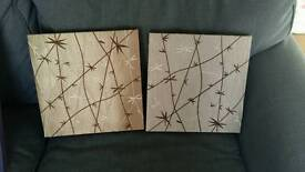 2 gold/brown canvases