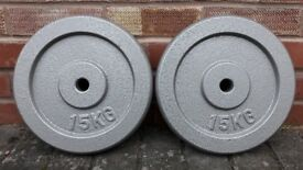 CAST IRON 15KG WEIGHT PLATES - 1 inch holes