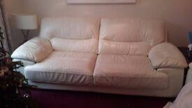 Cream Leather 3 Seater Sofa DFS Nevada