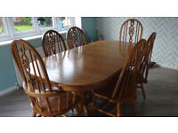Dining table and 6 chairs - medium oak