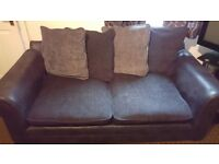 Black and grey Sofa suite, corner sofa and 2 seater.