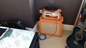 Orange OR 15 all valve guitar head switches between 7 and 15 watts and matching orange cab. Mint
