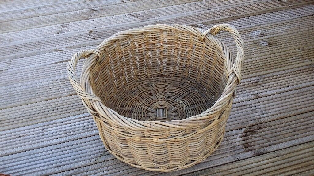 Large round wicker shoe / boot / log / kindling basket with handles