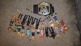 WWE Wrestling Figure Bundle with WWE Belt