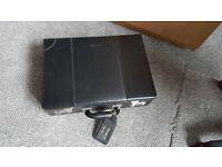 Black genuine leather briefcase - unused