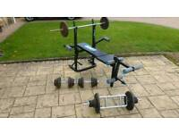Weights and 100kg weight bench