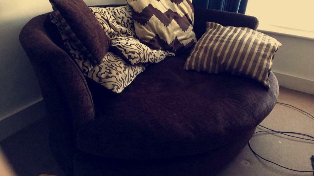 DFS Brown Fabric Cuddle Two Seater Sofa Chair With Cushions & Bean Bags