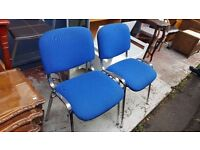 Two Standard Blue Fabric Office Chairs