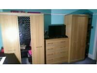 Alston wardrobe, drawers, plus a bookcase and desk