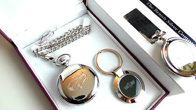 MORRIS MINOR Silver Classic Car POCKET WATCH and KEYRING Set in Luxury Gift Case